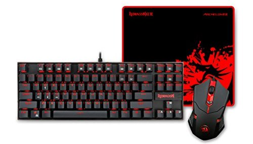 Gaming Keyboard and Mouse, Mouse Pad Combo, Backlit Gaming Mouse, LED Backlit Mechanical Gaming Keyboard, XL Gaming Mouse Pad, 87 key PC Gaming Keyboard Blue Switches Equivalent, K552-BA by Redragon