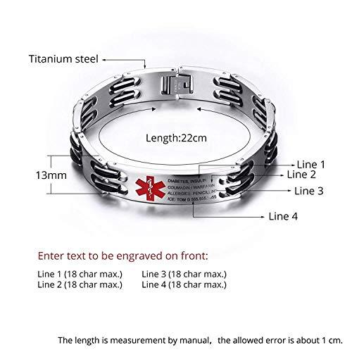Lam Hub Fong Free Engrave Adjustable Medical Bracelets Mens Emergency ID Bracelets for Women Kids Titanium Steel Medical Alert Bracelets deal 50% off 41ndMkz2QwL
