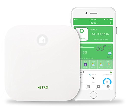 Netro Smart Sprinkler Controller, WiFi, Weather aware, Remote access, 6 Zone, Compatible with Alexa