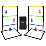 GoSports Indoor / Outdoor Ladder Toss Game Set with 6 Rubber Bolos, Carrying Case and Score Trackers