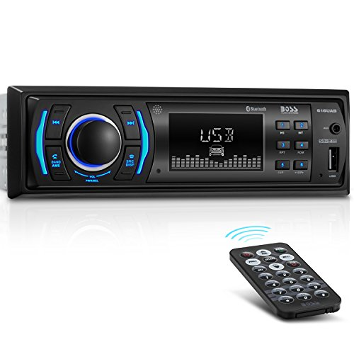 BOSS Audio 616UAB Multimedia Car Stereo – Single Din LCD, Bluetooth Audio and Calling, Built-in Microphone, MP3 Player, WMA, USB, Auxiliary Input, AM/FM Radio Receiver, Wireless Remote Control