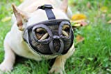 Short Snout Dog Muzzles - Adjustable Breathable Mesh Dog Muzzle with Eyehole for Bulldog Boston Terrier And Short-snouted Breeds to Anti-Biting Barking and Licking Chewing Barking Training Dog Mask