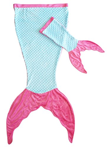 Posh Peanut Mermaid Blanket Softest Minky Comfy Cozy Blankie for Kids Ages 3-13 with Free Toy Doll Blanket Included (Turquoise/Pink)