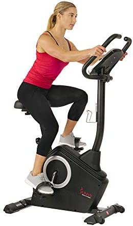 Sunny Health & Fitness Upright Exercise Bike with Electromagnetic Resistance, Device Holder, Programmable Monitor and Pulse Rate Monitoring – SF-B2883