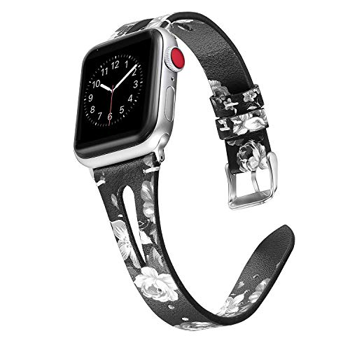 Secbolt Leather Bands Compatible with Apple Watch Band 38mm 40mm iwatch Series 4 3 2 1, Slim Strap with Breathable Hole Replacement Wristband Women, Black/Grey Floral