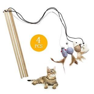 Meibel-Cat-Kitten-Teaser-ToysInteractive-Toy-Natural-Linen-Wood-RodMouseBirdFeatherBall-of-CottonBlue-Balls-Toys-for-Puppy-Kitty-CatSet-of-4