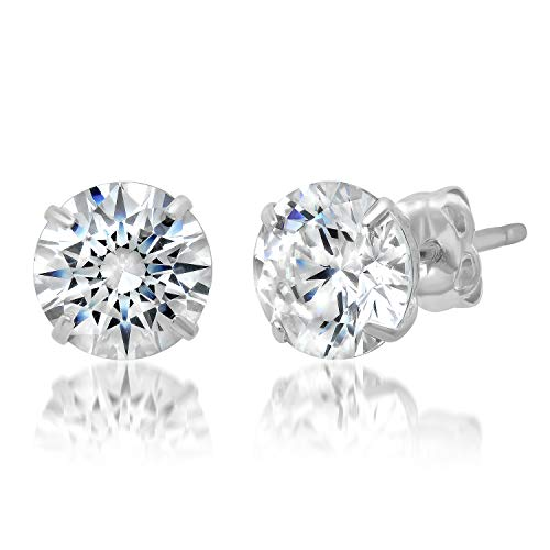 14k Solid White Gold ROUND Stud Earrings with Genuine Swarovski Zirconia   2.0 CT.TW.   With Gift Box