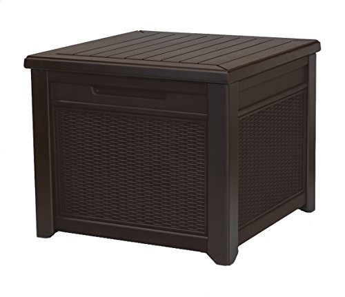 Keter 233705 55 Gallon Outdoor Rattan Style Storage Cube Patio Table, 1 Pack, Brown