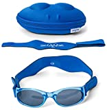 Tuga Polarized Baby/Toddler UV 400 Sunglasses w/ 2 Straps & Case, Blue