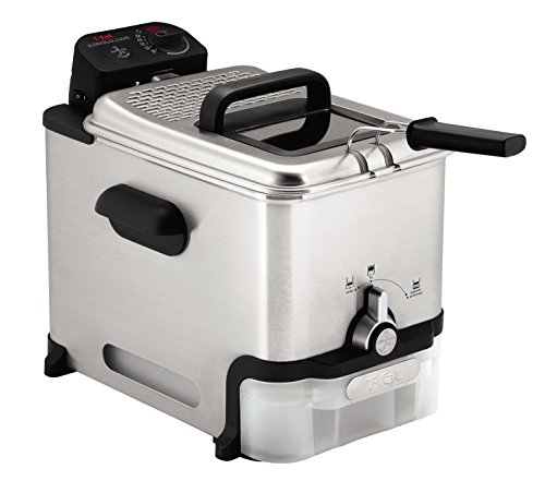 T-Fal FR8000 Deep Fryer with Basket, Oil Fryer with Oil Filtration, Easy to Clean, 2.6 Pounds, Silver