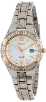Seiko Women's SUT068 Dress Solar Classic Diamond-Accented Two-Tone Stainless Steel Watch