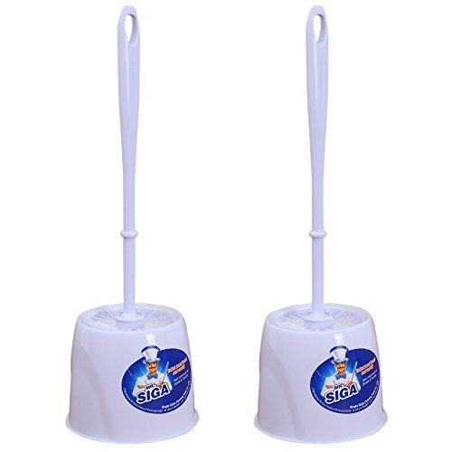 MR. SIGA Toilet Bowl Brush and Caddy, Dia 12cm x 38cm Height, Pack of 2 Set