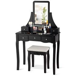 CHARMAID Vanity Set with 5 Drawers, 2 Dividers, Removable Storage Box, Dressing Table Set with Square Mirror & Cushioned Stool for Women Girls, Bedroom Bathroom Furniture Makeup Vanity Set (Black)