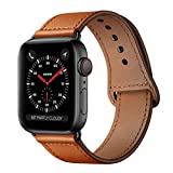 KYISGOS Compatible with iWatch Band 44mm 42mm, Genuine Leather Replacement Band Strap Compatible with Apple Watch Series 4 Series 3 Series 2 Series 1 42mm 44mm, Brown