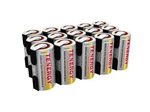 Tenergy 2200mAh Sub C NiCd Battery for Power Tools, 1.2V Flat Top Rechargeable Sub-C Cell Batteries with Tabs, 15-Pack