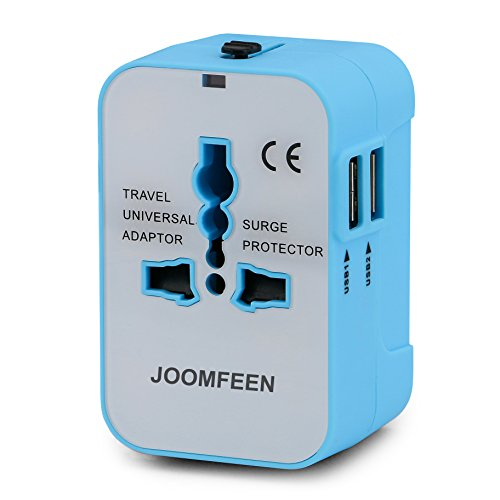 Travel Adapter, JOOMFEEN Worldwide All in One Universal Power Converters Wall AC Power Plug Adapter Power Plug Wall Charger with Dual USB Charging Ports for USA EU UK AUS Cell Phone Laptop-Blue/White