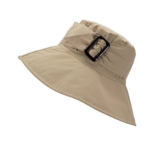 FLH Cute Bucket Rain Hat w/Buckle Accent, 3.5 inch Wide Brim, Roll-Up Packable (Khaki)
