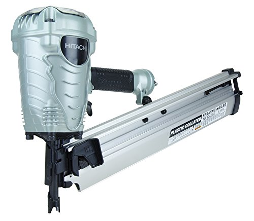 Hitachi NR90AES1 Framing Nailer, 2-Inch to 3-1/2-Inch Plastic Collated Full Head Nails, 21 Degree Pneumatic, Selective Actuation Switch, 5-Year Warranty