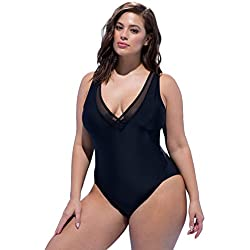 Tropiculture Women's Plus Size Ashley Graham x swimsuitsforall Presidenta Swimsuit 18 Black