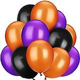 100 Pieces 13 inch Halloween Latex Balloons for Wedding Festival Party Decoration (Orange, Purple, Black)