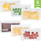 Reusable Snack Bags 6 Pack Leak Proof Freezer Bags EXTRA THICK Reusable Storage Bags & Easy Seal Ziplock Sandwich Bags for Kid Lunch Dry Snacks (Cereal, Nuts, Chips, Etc) Smaller Fruits & Veggies