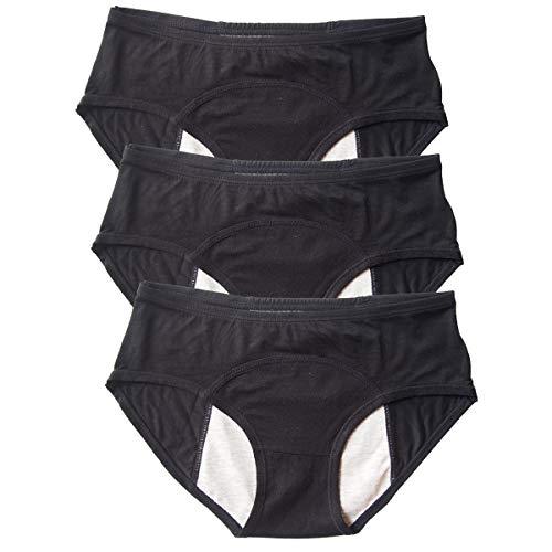 Modal Menstrual Underwear Period Leak Proof Panties for Girls Heavy Flow, Women Postpartum Bleeding 3 Pack (Black, S(100-120lbs))