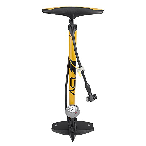 BV Bicycle Ergonomic Bike Floor Pump with Gauge & Smart Valve Head, 160 psi, Automatically Reversible Presta and… 41oLo1kgoeL