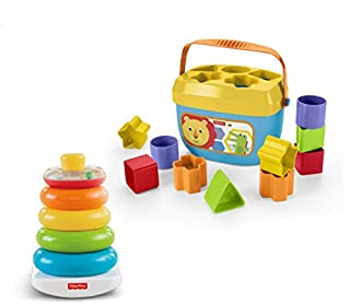 Little ones will have a blast with this exciting gift set, which features two iconic Fisher-Price toys!Little handswill love grasping, holding, shaking and stacking the five colorful rings of the classic Rock-a-Stack toy, with its wobby base that r...