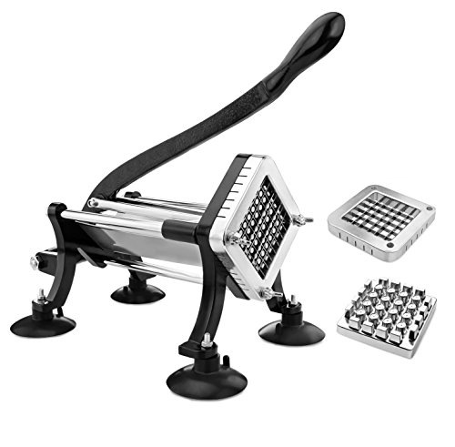 New-Star-Foodservice-43204-Commercial-Grade-French-Fry-Cutter-with-Suction-Feet-12-Inch-and-38-Inch-Blades-Limited-Edition-Black