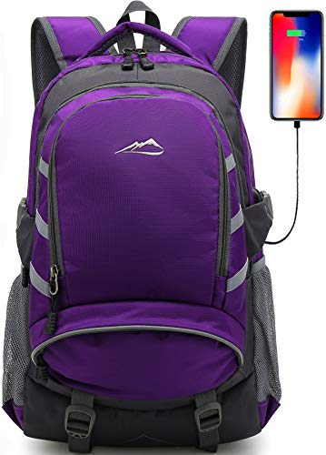Backpack For School College Student Bookbag Travel Business With USB Charging Port Laptop Compartment Chest Straps Night Light Reflective Anti theft (Purple)