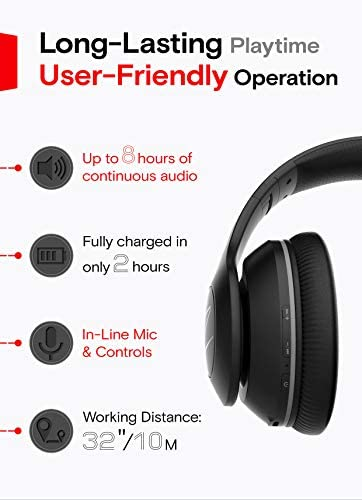 Symphonized Blast Wireless Bluetooth Headphones with Mic, Over Ear Headphones for iPhone, Samsung and More, 22 Playtime Hours for Travel/Work, Deep Bass Headphones with Noise Isolation (Black) 18