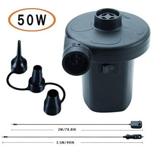 BUYMAX Electric Air Pump for Pool Inflatables Air Mattress Air Bed, 110V AC/12V DC Boat Pool Raft Inflatable Pump with 3… 41oc40yyrUL