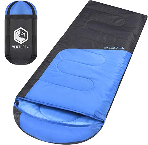 VENTURE 4TH Sleeping Bags for Adults   Lightweight and Compact Sleeping Bag for Hiking, Camping and Backpacking   Blue/Gray
