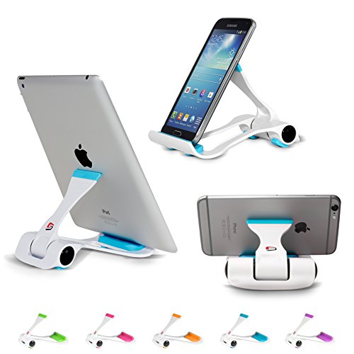 Tablet and Cell Phone Stand Holder, Multi-Angle, Durable, Anti-Slip, Landscape and Portrait, made for: Apple iPad, iPhone, Kindle, Samsung Galaxy Tab and Any Devices from 4'-12' by SIME-ON - Blue