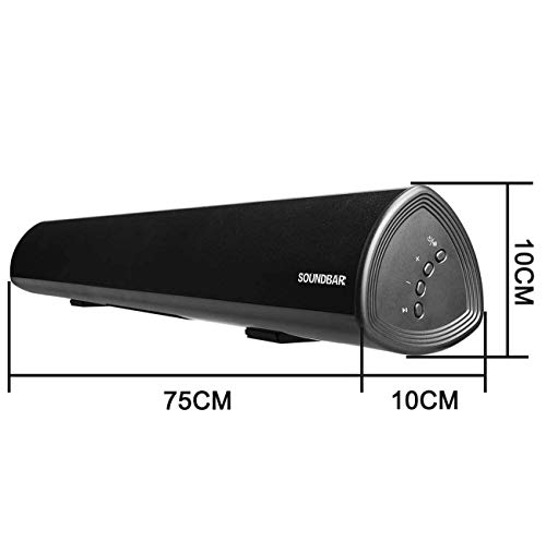 Sound Bar Wired and Wireless Bluetooth Audio (4 Speakers, 2 Bass Reflex Tubes, Bass and Treble Adjustable, Dual Connection Methods, Wall Mountable Bt Speakers, Upgraded Version)