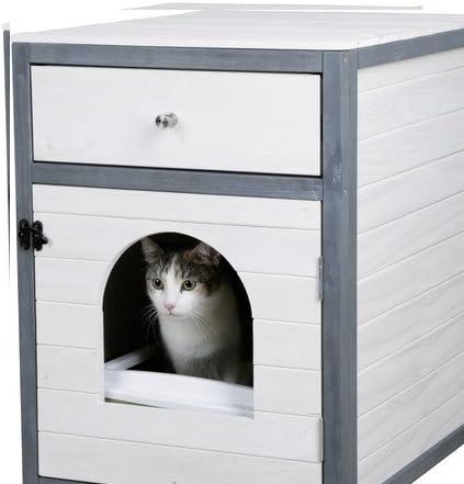 Casa para Gatos, 45 x 58 x 60 cm, Blanco/Gris