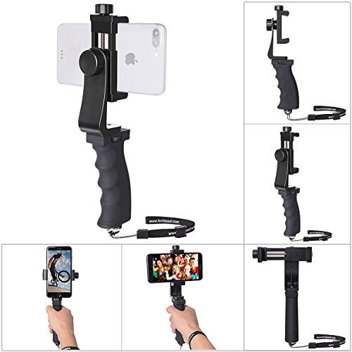 Ergonomics Smartphone Stabilizer Hand Grip Selfie Stick Cell Phone Clamp Mount Handle Holder Mobile Video Rig Vlog Compatible for All 60mm-100mm Width iPhone Samsung Moto BLU (Landscape+Portrait Mode)