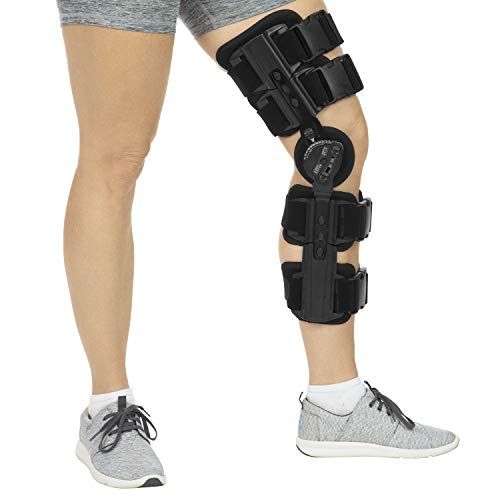 Vive ROM Knee Brace - Hinged Immobilizer for ACL, MCL & PCL Injury - Orthosis Stabilizer for Women & Men - Adjustable Recovery Support for Orthopedic Rehab, Post Op, Meniscus Tear, Right or Left Leg