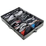 ACMETOP Extra-Large Under Bed Shoe Storage Organizer, Built-in Structure & Durable Materials, Underbed Storage Solution for Men's Size 13 Sneaker & Women's 6'' High-Heels (12 Cell, Olive Green)