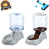 Ancaixin Automatic Cat Feeder and Water Dispenser in Set with Slicker Brush Gift for Small Large Dog Pets Puppy Kitten Rabbit Bunny Big Capacity 1 Gallon x 2