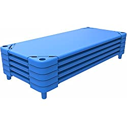 Extra-Large 54 Inch Stackable Daycare Resting Cot / Portable Toddler Bed w/ Heavy Duty Corner Support Brackets & Stackable Space Saving Design Safely Holds 150lbs I 5 pack - ASSEMBLY REQUIRED