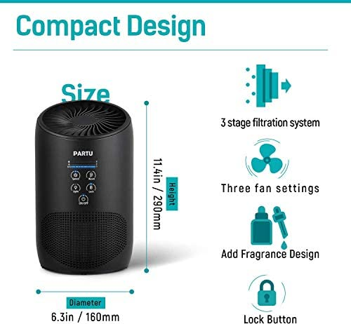 PARTU HEPA Air Purifier - Smoke Air Purifiers for Home with Fragrance Sponge - 100% Ozone Free, Lock Set, Eliminates Smoke, Dust, Pollen, Pet Dander, (Available for California) 16