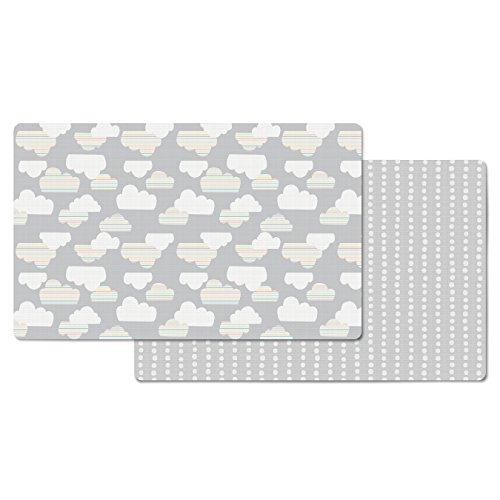 Skip Hop Cloud/Mini Dot Reversible Waterproof Foam Baby Play Mat, Grey, 86' X 52'