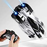 SGILE Remote Control Car Toy, Wall Climbing RC Car - Dual Mode 360° Rotating LED Head Stunt Car, Birthday Present Gift for Kids, Black