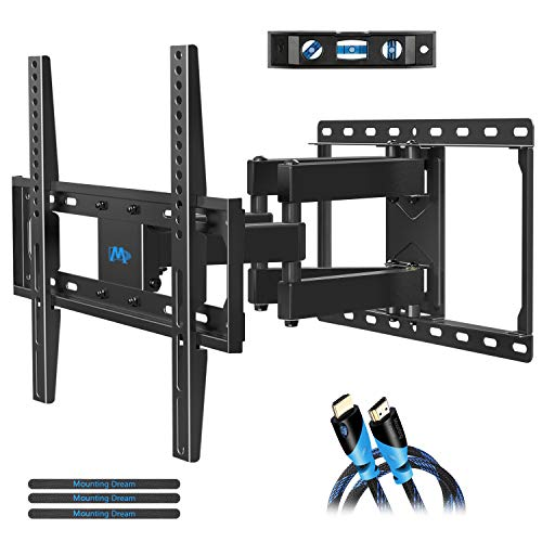 Mounting Dream TV Wall Mounts TV Bracket for Most 32-55 Inch Flat Screen TV/ Mount Bracket, Full Motion TV Wall Mount with Swivel Articulating Dual Arms, Max VESA 400x400mm, 99 LBS Loading MD2380