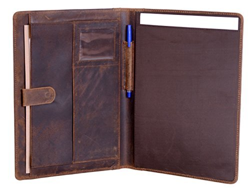 KomalC Genuine Leather Business Portfolio, Personal Organizer, Luxury Leather Padfolio, Leather Folder