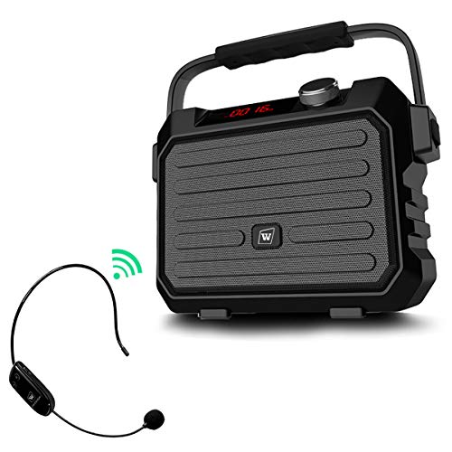 Wireless Pa System Speaker with UHF Headset Mic, 30W Portable Voice Loudspeaker, 3600mAh Rechargeable Amp and Microphone, Personal Voice Amplifier for Teachers, Meeting, Outdoors, Yoga, Promotion, ect