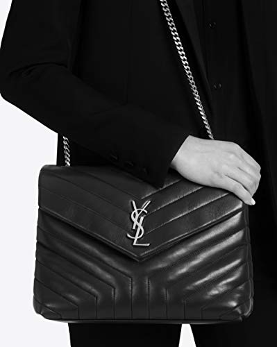 Paper Yves Saint Laurent monogramme loulou loulou medium in matelasse-y-leather shoulder bag (black)
