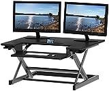 SHW Height Adjustable Sit to Stand Desk Riser Converter Workstation, Black