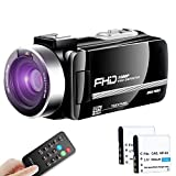 Video Camera Camcorder Ultra HD Vlogging Camera 1080P 30FPS Remote Control IR Night Vision 3.0' Touch Screen with Separate Battery Charger, 2 Batteries